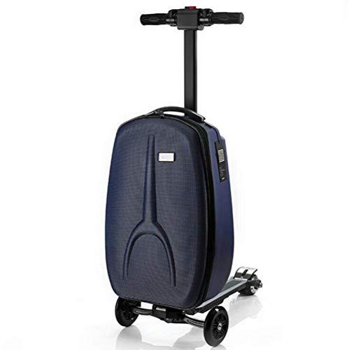 Roller Koffer multifunktions Tragbare Elektrische Trolley Gepäck Große Kapazität Zusammenklappbare Geschäftsreisen Smart Reisetasche,Blue