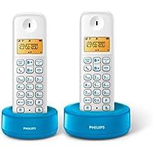 Philips D1302WA  - Teléfono inalámbrico con pantalla iluminada de 4.1 cm, 10hrs conversación, Blanco y azul, 2 Piezas