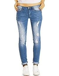 Bestyledberlin Damen Skinny Fit Röhrenjeans, Enge Destroyed Style Skinnyjeans, Zerrissene stretchige Jeans j51i