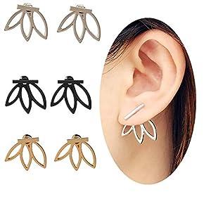 GUUTUUG 3 Paar Lotus-Blumen-Ohrringe leichte Ohr-Stulpe-Bolzen-Jacken-Ohrringe Elegantes modernes Frauen-Mädchen