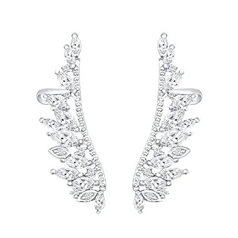 QUKE 925 Sterling Silver Angel's wings Cubic Zirconia Crystal Ear Cuff Wrap Vine Earring Women Jewelry