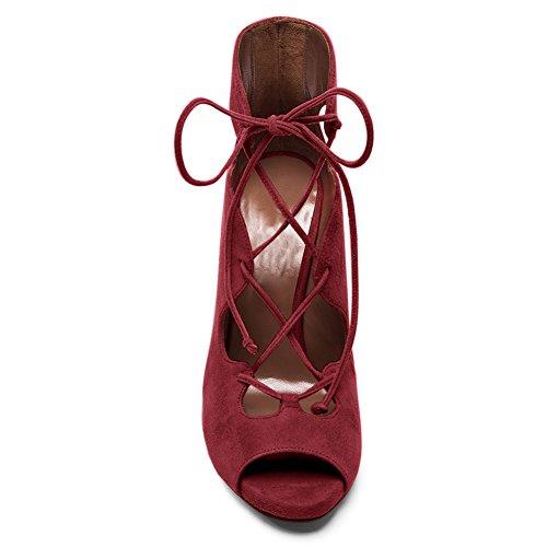 Damen Sommer Peep Toe Fellsamt Sandalen High-Heels Stiletto Schnürschuhe Rot
