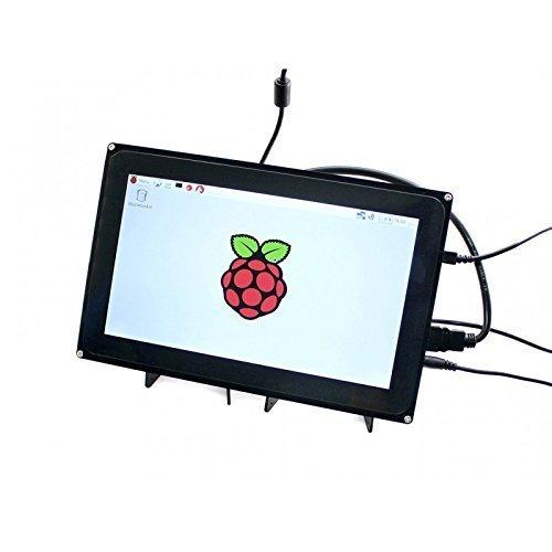 Waveshare Raspberry Pi, 25,7cm, HDMI, LCD, 1024x 600,kapazitiver Touchscreen mit Schutzhülle für Raspberry Pi 2,3,Typ B, B +, BeagleBone, schwarz, unterstützt Raspbian mit Ubuntu, Videoeingang.