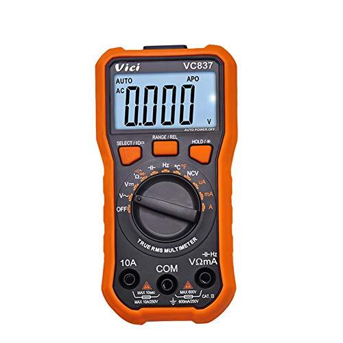 Starnearby Digital Multimeter, Multimeter mit 6000 Counts, True RMS, Temperaturmessung, Außenleiter-Identifizierung, Durchgangsprüfung, Hintergrundbeleuchtung (VC837)