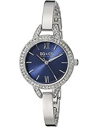 So y Co para mujer de Nueva York reloj infantil de cuarzo con diseño de rayas de azul esfera analógica y plateado correa de acero inoxidable de 5088,2