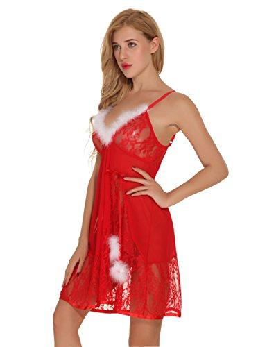 Aibrou Babydoll Natale , Donne Intimo Breve Notte, Abito da Notte. con fiora