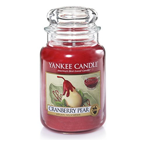 Yankee Candle 1305818E Cranberry Pear Candele In Giara Grande, Vetro, Rosso, 10.1X9.8X17.7 Cm