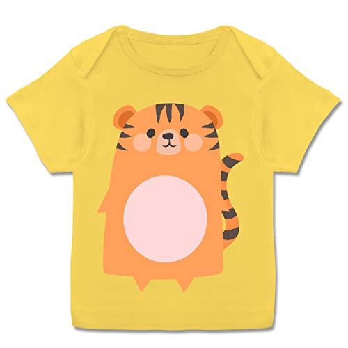 Karneval und Fasching Baby - Kostüm Fasching Tiger - 80-86 (18 Monate) - Gelb - E110B - Kurzarm Baby-Shirt für Jungen und Mädchen (Tiger Baby Kostüm)
