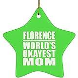 Designsify Florencia World 's Okayest Mom-Star Ornament, Adorno de Navidad de cerámica decoración de árbol de Navidad, Regalo para cumpleaños, Navidad