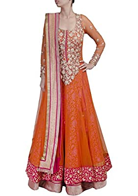 Vipul Women'S Branded Orange & Pink Party Wear Net Anarkali Suit Dress Material (Best Gift For Mummy Mom Wife Girl Friend, Exclusive Offers)
