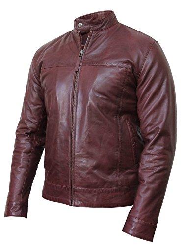 Brandslock homme blouson veste motard d'origine en cuir vintage froisse retro Bourgogne