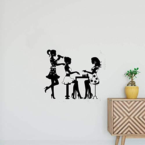 wandaufkleber 3d Wandtattoo Kinderzimmer Schönheits-Salon-Friseur-Maniküre-Nagel-Mode-Modell Girl - Feuerwehr-schlafzimmer-möbel