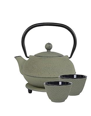 Teaclassix Ganzou Service à Thé en Fonte Gris Vert. Avec 1 Théière 0,9 l traditionnelle japonaise avec filtre , 2 Tasses et 1 Dessous de Théière.