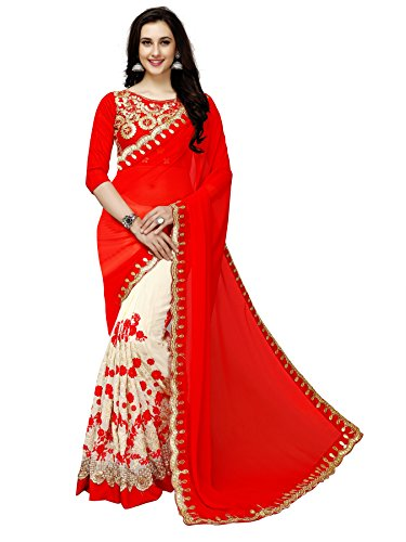 Glory Sarees Georgette With Blouse Piece (diva101red_Red_Free Size)