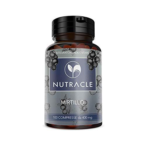 NUTRACLE Mirtillo nero 100 compresse da 400mg | Aiuta la microcircolazione e la salute degli occhi | Ricco di Vitamine e nutrienti