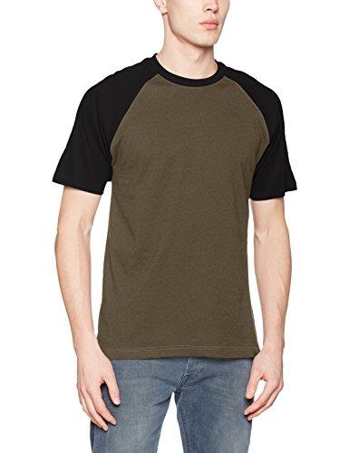 Urban Classics Herren Regular Fit T-Shirt Raglan Contrast Tee TB639, Gr. Medium, Grün (Olive/Black 00595)