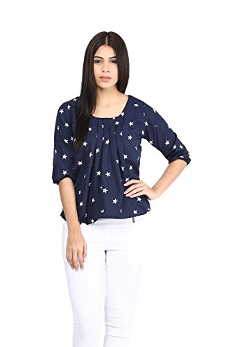 Mayra Women's Crepe Top (W1602T09237_L Blue )