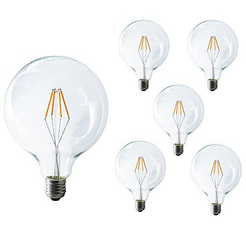 Mengjay® 5 Stück 4 W G125 Glühlampe E27 nicht Dimmbar LED 4 Filament Globe Lampe Warm Weiß 2200-2300 K Edison Schraube 125 * 165 LED klar filament Glühbirne 40 Watt Glühlampe Ersatz 650 (Edison Lampe Stand)