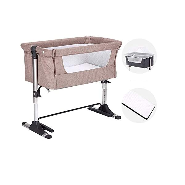 LYYJIAJU Bed Side Crib for Baby - Sleeper Includes Mattress, Sheet, and Urine Pad ,Adjustable Height 4 Files Side with a Snap-on Tension Band (Color : Brown) LYYJIAJU Co-sleeping crib that promotes side-sleeping and allows you to sleep close to your child. Can be used as a normal crib as baby grows.Outer diameter 93CM / inner diameter 85CM. Suitable from birth to 6 months/9 kg or until baby can pull themselves into an upright position. 1