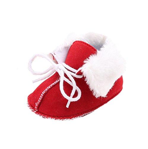 Baby Winter warme Schuhe, Auxma Baby Mädchen Jungen Schuhe Infant weiche Sohle Schneeschuhe weiche Krippe Schuhe Kleinkind Stiefel für 0-18 Monate (12cm/6-12 M, rot) (Bow Wohnungen, Schuhe Kleidung)