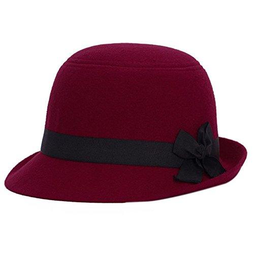 chen Filz Hut Hipster Retro Billycock Gürtel Bowknot Flachen Hut Derby Bowler Mütze Outdoor Hats (Derby-hüte Für Kinder)