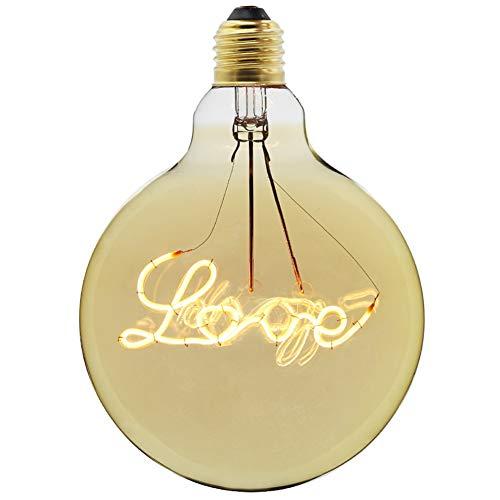 Glühlampen Beleuchtung Leuchtmittel Bühnenlampen Energiesparlampen Edison Persönlichkeit Kreative Brief LED Licht Warmes Licht E27 Schraube ZHAOYONGLI (Farbe : 4W Power Love Models)