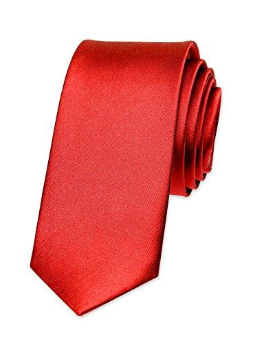 Autiga Krawatte Herren Hochzeit Konfirmation Slim Tie Retro Business Schlips schmal rot