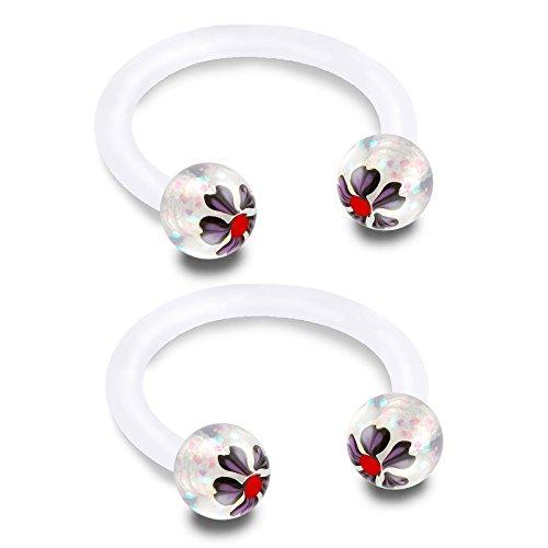 2 Stück piercing hufeisen kugeln 1,2 circular barbell bioflex durchsichtig helix lippe lippenbändchen nase tragus septum ohr unterlippe ohrringe BFBK - 8mm
