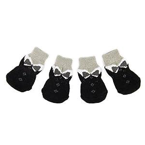4pcs Chaussettes Anti-dérapant pour Chiot Petit Chien Noir et Gris S