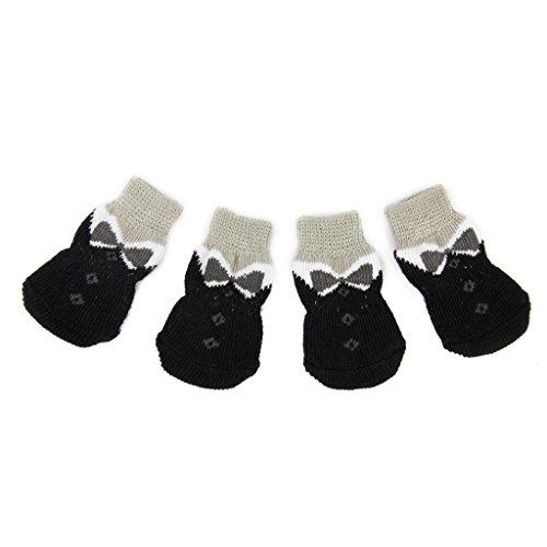 Pfotenschutz Schwarz Bowknot Pet Hunde Puppy Katz Schuhe Hausschuhe rutschfeste Socken mit Paw Prints Größe L