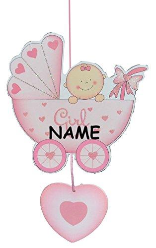 Türschild / Wandbild / Deko Hänger - Baby im Kinderwagen rosa incl. Namen - HOLZ - selbstklebend - Kinderzimmer Deko Bilder Mädchen zur Geburt Babys Neugeboren