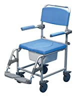Days Deluxe Wheeled Shower Commode Chair, Attendant Propelled, Padded Bathing Chair for Elderly, Handicapped, and Disabled users, Toilet for Bedside Bathroom Use, Mobile Bedside Commode, Sit & Bathe