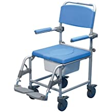 Patterson Medical Deluxe - Silla con ruedas para ducha con agujero de inodoro