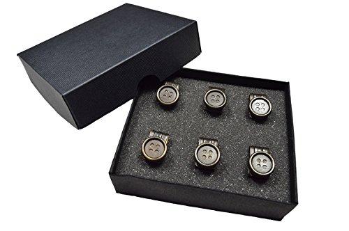 Bottone clips per bretelles. pacchetto di 6 in scatola di presentazione. ottone