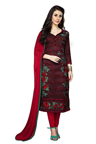 Kimisha Maroon Cotton Partywear Salwar Suit Material With Embroidery