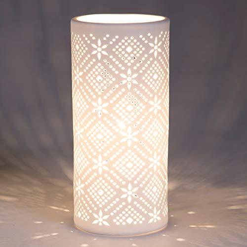 Lampe de chevet Snow, lampe décorative porcelaine, 40 W, blanc, ø 11 x H 24 cm