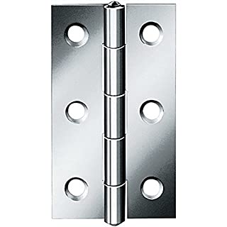 August Vormann Interior Fittings Narrow Hinge, 80 x 41 x 1.5 mm Stainless Steel, Matte, pack 48524,10er