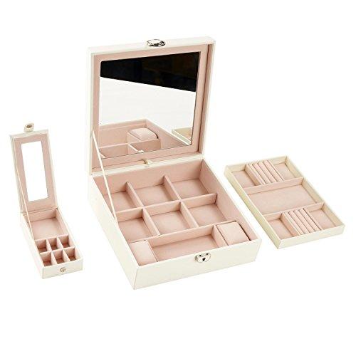 Babimax Schmuckkasten 25.3 * 25.3 * 8.5cm 2 Ebenen mit tragbarer Schatulle und Großem Spiegel Holz und Leder abschließbar zur Schmuckaufbewahrung elegant für Damen