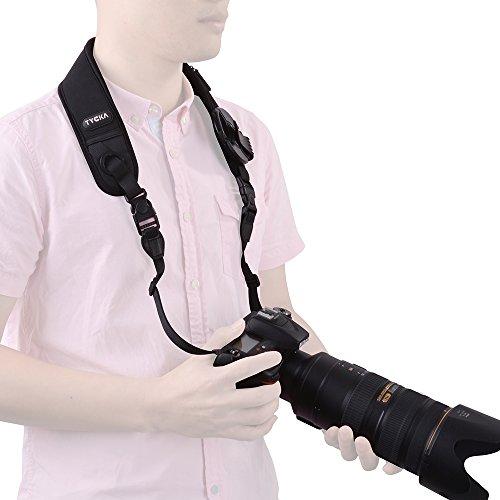 Tycka Kamera Tragegurt mit Schlinge Kamera Nacken Hals Tragegurt , rutschfest, atmungsaktiver und ergonomischer Gurt, ausgestattet mit Schnellverschluss und Objektivdeckel-Tasche, ideal für DSLRs, schwere Kameras und Ferngläser.
