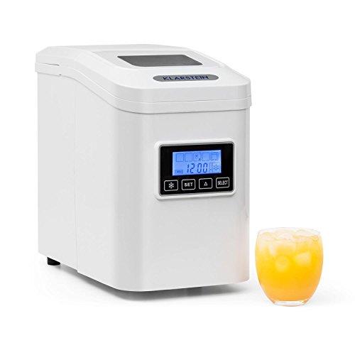 KLARSTEIN Lannister - Eiswürfelbereiter, Eiswürfelmaschine, Ice Maker, 10 kg / 24 h, 3 Würfelgrößen, Zubereitung in 8-10 min, LCD-Display, Selbstreinigungsprogramm, Sichtfenster, weiß