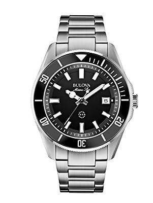 Bulova Men's Designer Watch Stainless Steel Bracelet - Water Resistant Black Dial Marine Star 98B203