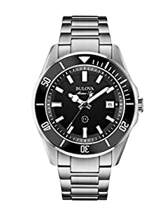 Bulova Marine Star 96B203 - Montre-bracelet de créateur - pour homme - étanche - bracelet en acier inoxydable - cadran noir