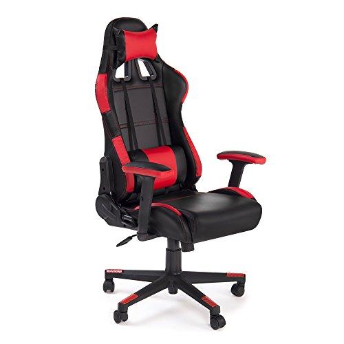 Adec - Silla oficina giratoria, sillon para despacho, estudio o escritorio, acabado en color Rojo y Negro, modelo Gamming Racing