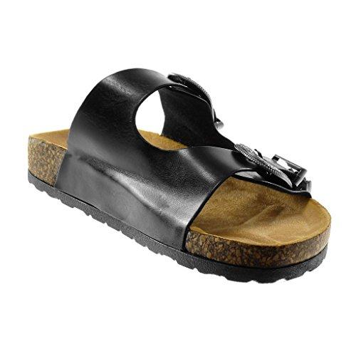 Angkorly Chaussure Mode Sandale Mule Slip-On Femme Boucle Métallique Liège Talon Plat 2.5 CM Noir
