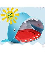 Opret Tienda Playa Bebe, Pop-up Tiendas de Campaña con Piscina para Niños Carpa Plegable Portátil Anti UV 50+ Protector Solar, Estilo de Ballena Azul