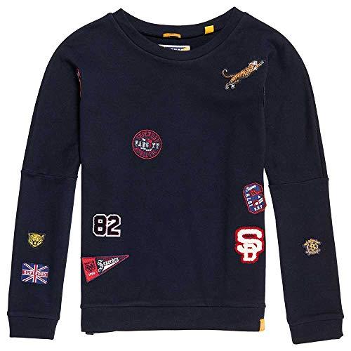 Superdry Sweatshirt Damen Varsity Badge Crew Captain Navy, Größe:S