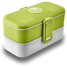 LEOX Lunch Box Bento Box Lunchbox Boîte avec couverts inox - vert