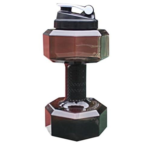 Wasser Flasche, Gusspower PETG 2.2L Hantel Form Water Jug umweltfreundliche Sport Fitness Übung Wasser Krug für Gym, Yoga, Laufen, Draußen, Radfahren und Camping (Schwarz)