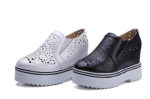 PBXP Loafers Büros Hollow Elevator Plattform Schuhe Round-toe Frauen Casual Hochzeit Vintage Schuhe Europa Größe innerhalb Customized Biger Größe 34-43 White