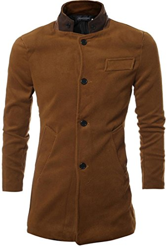 jeansian Herren Fashion Stand Collar Single Breasted Trench Long Coat Jacket Winter Overcoat Tops 9562 Darkbrown